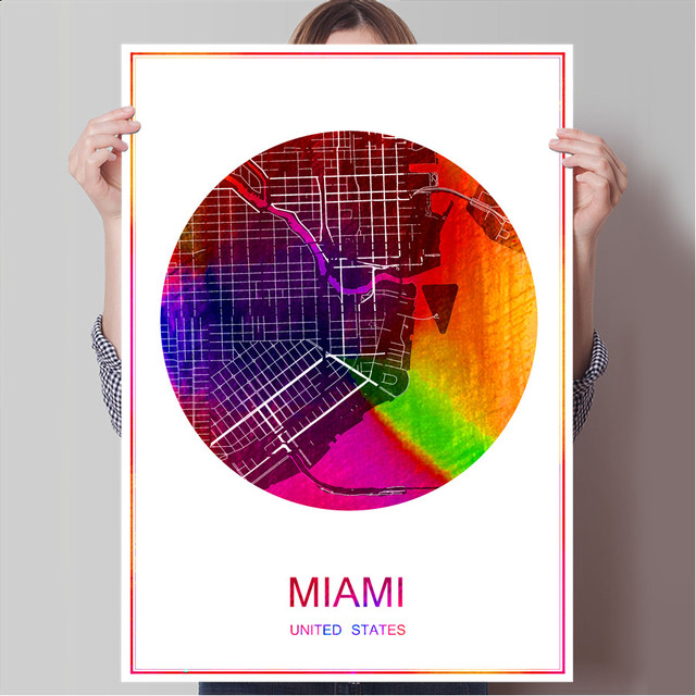 Miami usa world famous city map print poster print on paper or canvas wall sticker bar