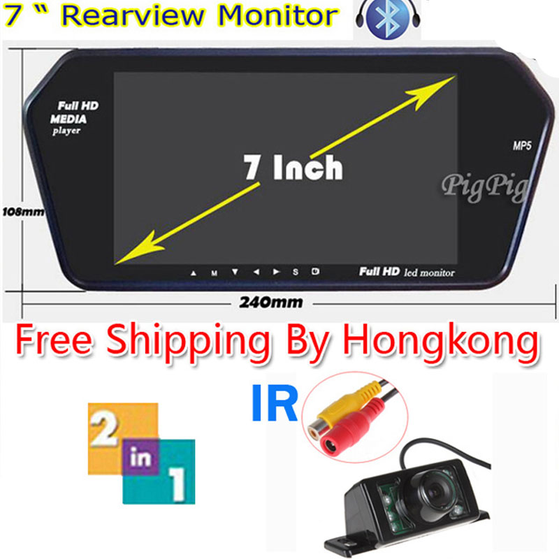 HD Full 7'' TFT LCD Monitor WIth Bluetooth + MP5 &  7 LEDs+1 IR Car Wireless Rear View Camera Night Vision Parking Camera by HK buy monitor hk