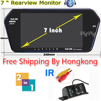 HD Full 7'' TFT LCD Monitor WIth Bluetooth + MP5 & 7 LEDs+1 IR Car Wireless Rear View Camera Night Vision Parking Camera by HK