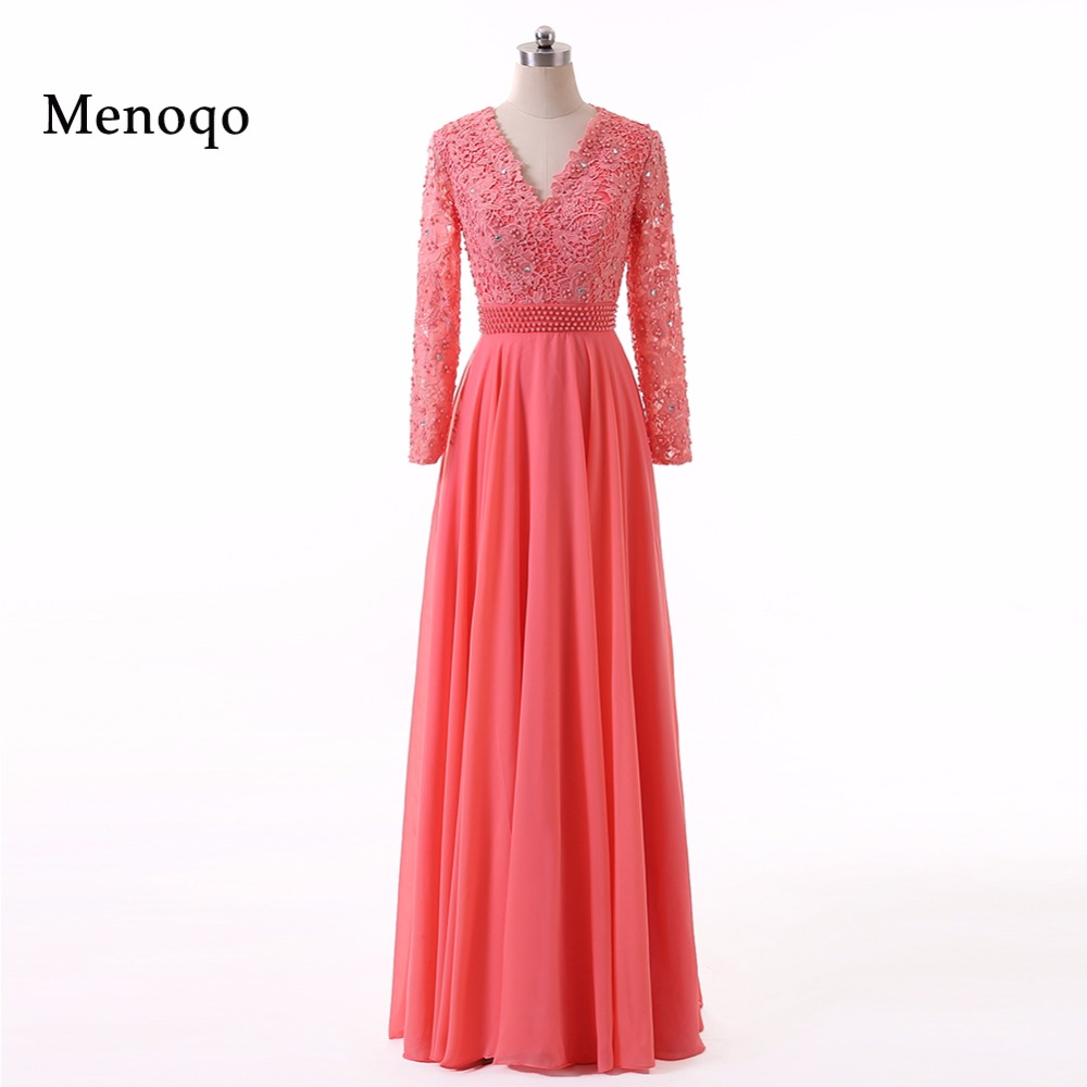 75f50afbedf1 White Lace Royal Blue Chiffon A line Prom Dress 2019 Long Sleeve Evening  Gowns vestidos de festa Sexy V Neck Formal Dress