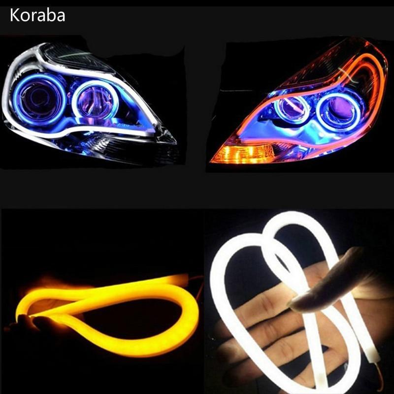 2PC/Lot 30cm 45cm 60cm DRL Flexible LED Tube Strip Daytime Running Lights Turn Signal Angel Eyes Car Styling White/Yellow/Blue