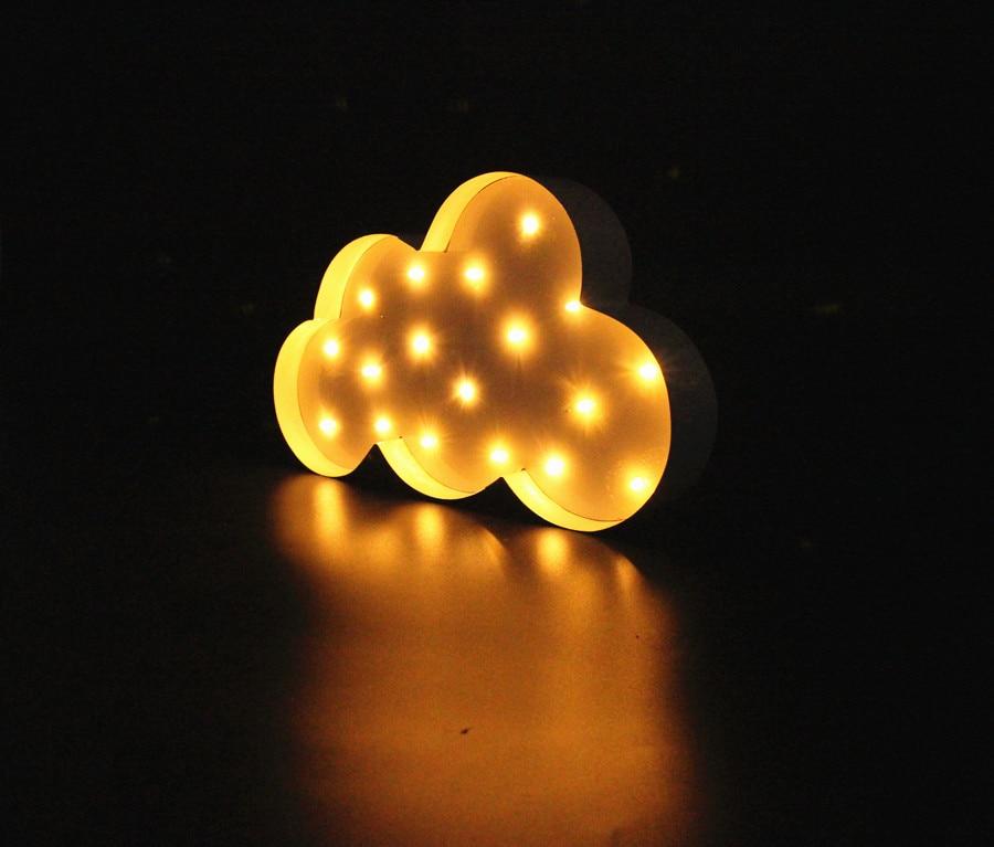 Balta mākoņa LED telts zīme LIGHT UP Vintage metāla naktsgaismas - Nakts gaismas - Foto 6