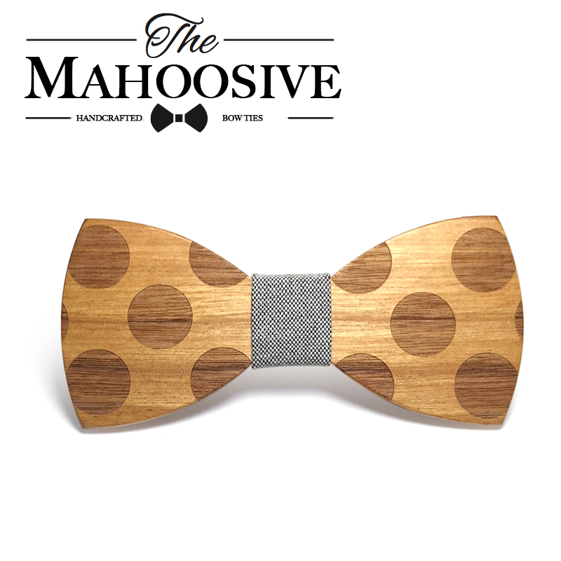 Mahoosive font b Novelty b font Solid Dot Wood Bow Tie For Men Classic Wooden Bowties