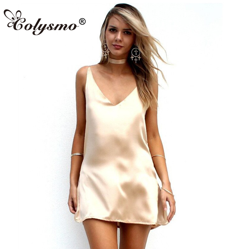 Colysmo Women Summer Dress Elegant Choker Neck Satin Slip Dress Gold Party Dress Ladies Sundress Sexy Dresses Club Wear Vestido