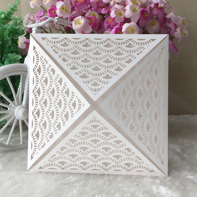 12pcs/lot Free Shipping And Printable Laser Cut Wedding Invitations  Greeting Cards Paper Craft Party
