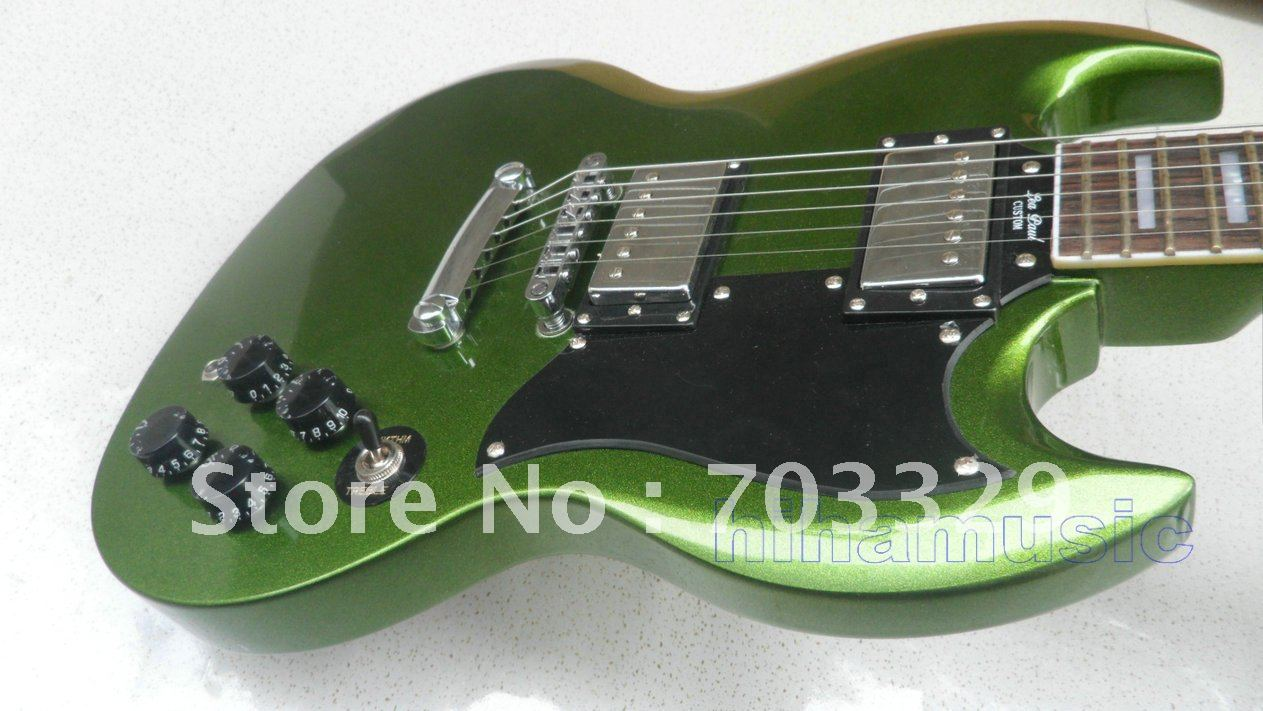 Brand new SG green quilted Top custom electric guitar green guitars free shipping big sales  fast delivery top selling chinese sg 400 electric guitar zebra stripe finish guitars body