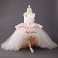 Puffy Baby Rosa alta baja niño princesa vestido de la muchacha de flor con el tren largo belleza celebración traje para la fiesta de cumpleaños