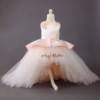 Puffy Baby pink high low toddler princess flower girl dress with long train beauty pageant celebration outfit for birthday party