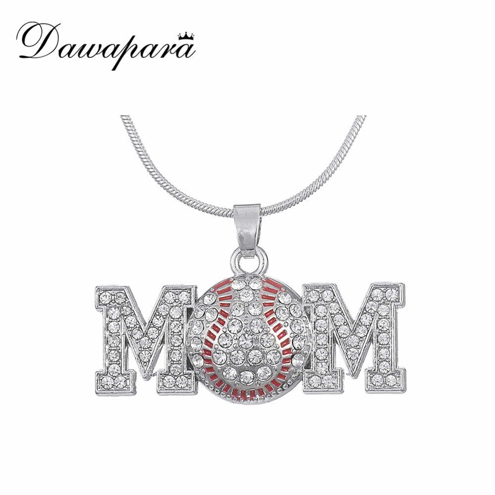 Dawapara Baseball Mom Antique Silver Pendant Necklaces Rhinestone Charms Jewelry for Men and Women Christmas Gifts