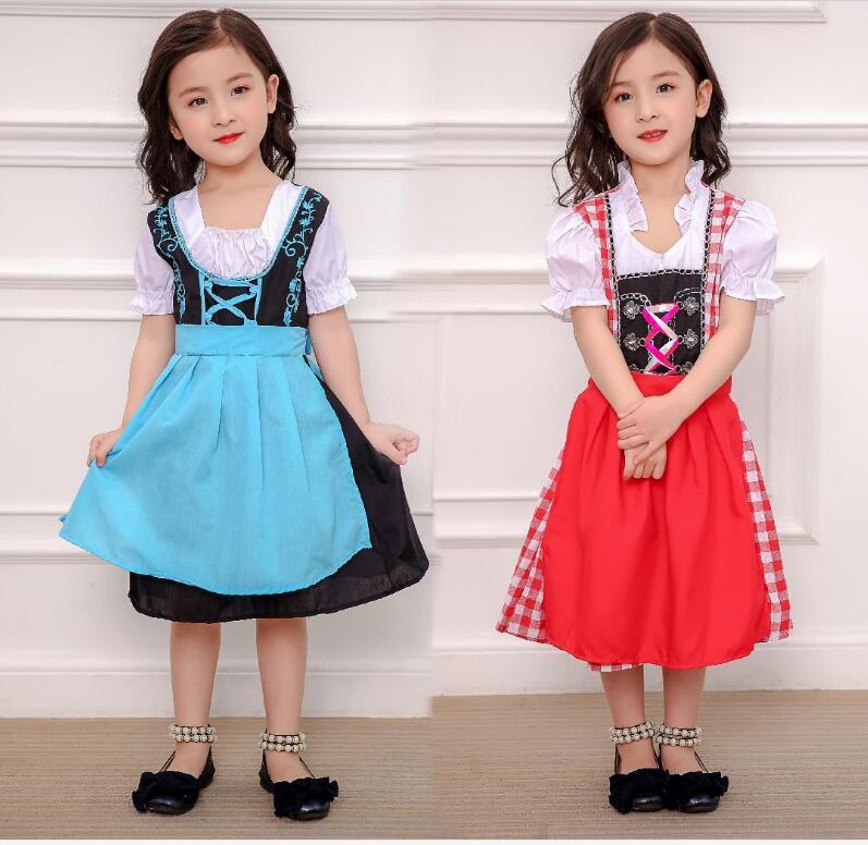 S-XL Children Oktoberfest princess Costumes German Kids Girl Beer Maid Heidi Costume Bavarian Dirndl Dress