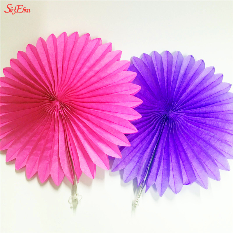 New 5pcs Tissue Paper Fan Diy Crafts Hanging Wedding: Decorative Wedding Party Paper Crafts 25cm Paper Fans DIY