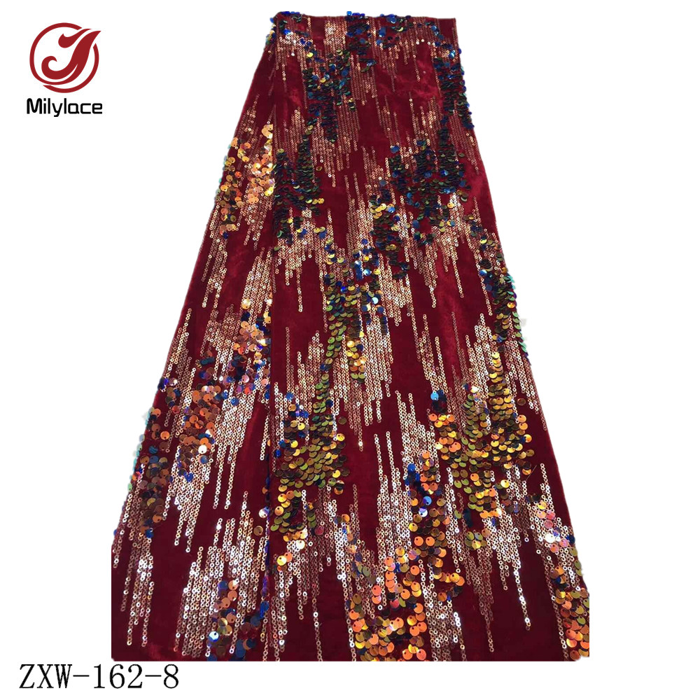 Image 2 - Milylace Nigerian sequins velvet fabric 5 yards two color 