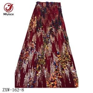 Image 2 - Milylace Nigeriano paillettes tessuto in velluto 5 metri a due colori sequenza di modo tessuto in velluto morbido tessuto per vestiti da partito ZXW 162