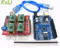 TIEGOULI! cnc shield v3 engraving machine 3D Printer+ 4pcs A4988 driver expansion board + UNO R3 with USB cable