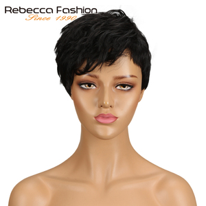 Rebecca Mix Color Short Wavy Wig Peruvian Remy Human Hair Wigs For Black Women Brown Red Natural Wave Wig Free Shipping WH DINA