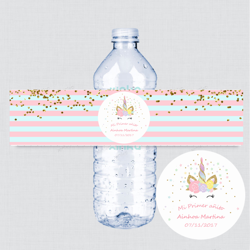 Us 11 85 45 Off Unicorn Face Personalized Water Bottle Labels Birthday Party Favors Stickers Striped Gold Dot Label In
