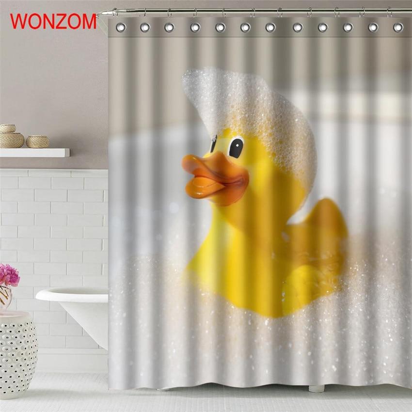 WONZOM Yellow Duck Polyester Fabric Shower Curtain Frog Bathroom Decor Waterproof Dog Cortina De Bano With 12 Hooks Gift 2017