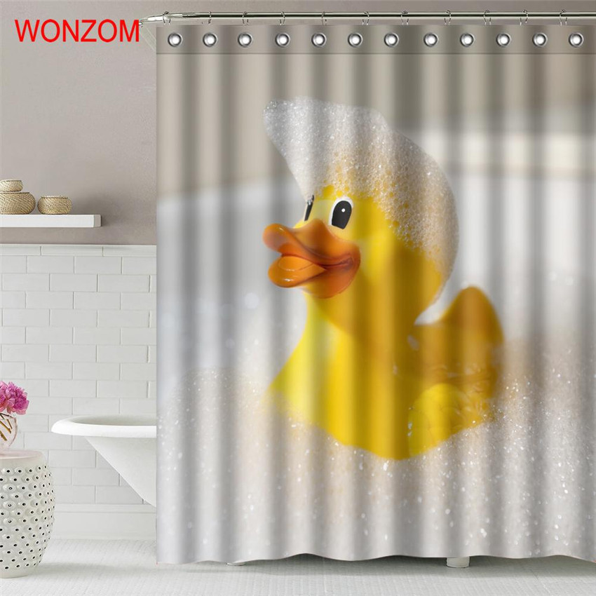 WONZOM Yellow Duck Polyester Fabric Shower Curtain Frog Bathroom Decor Waterproof Dog Cortina De Bano With 12 Hooks Gift 2017