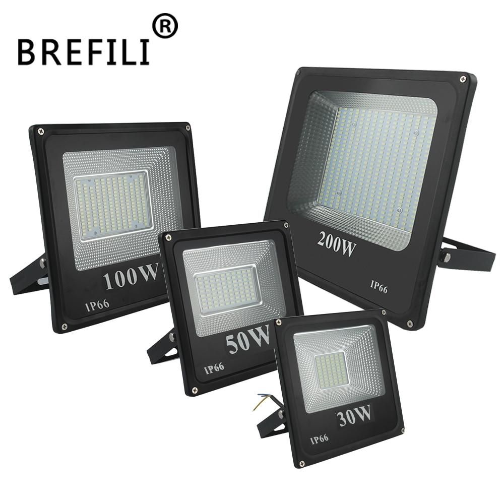 BREFILI 100W LED projecteur 150W 200W réflecteur projecteur LED extérieur 220V 10W 30W 50W projecteur LED mur extérieur