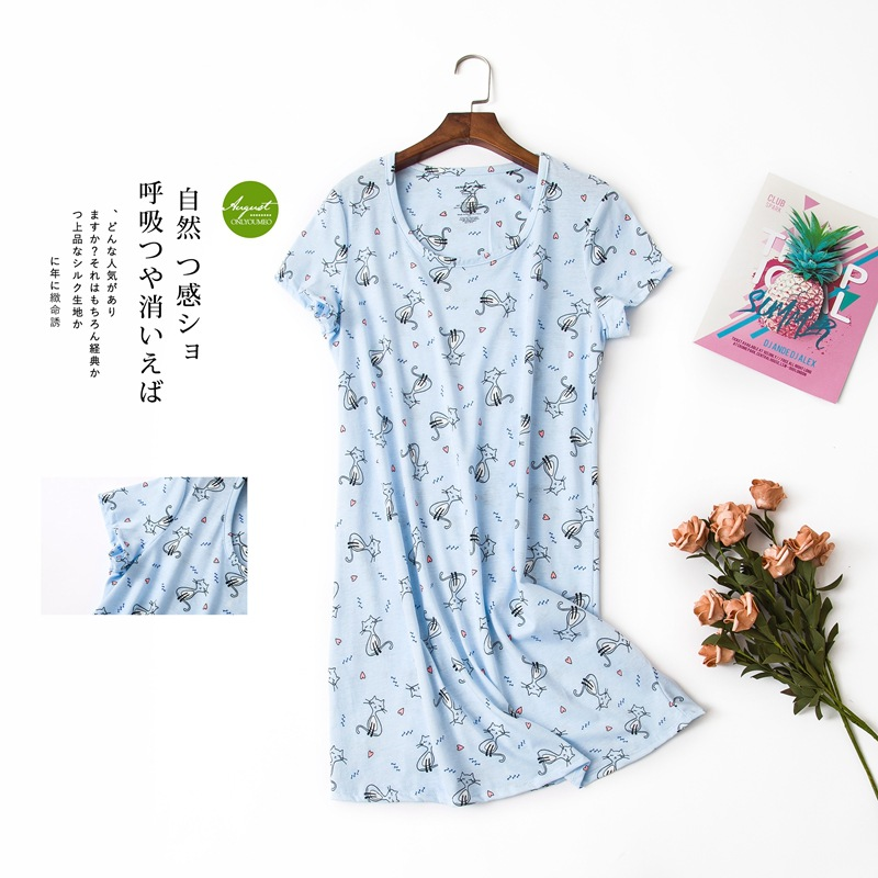 Cute cartoon sexy women nightdress summer short sleeve 100% cotton sleepwear pyjamas women nightgowns Plus size 90kg  1