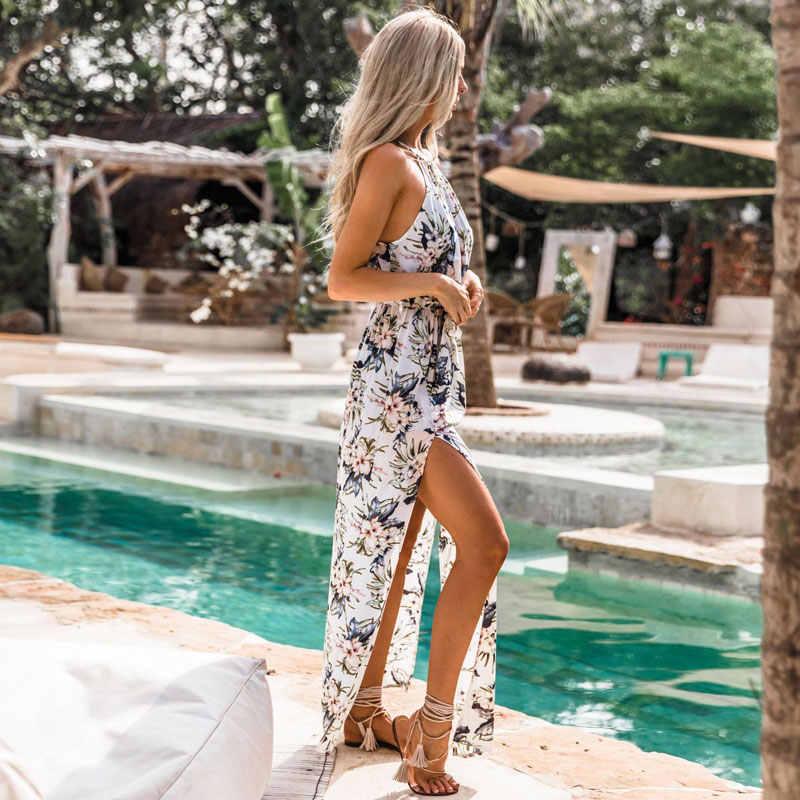524043c7f65 ... DeRuiLaDy 2018 Boho Floral Print Straps Long Dress Women Sexy Backless Summer  Beach Maxi Dresses Womens ...