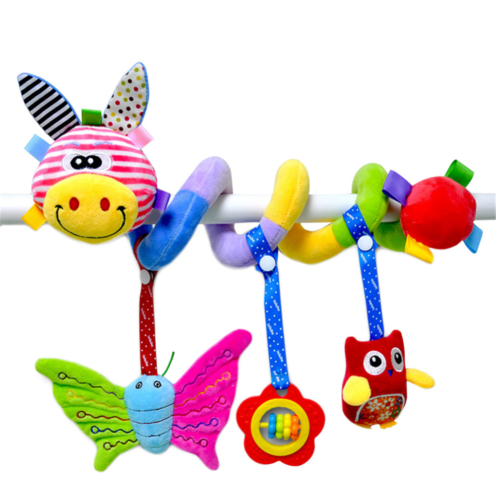 Infant Cartoon Stroller Arch Rattles Hanging Cute Plush Animals Bell Toys Giraffe Lion Style Bed Around for Baby Education Toy