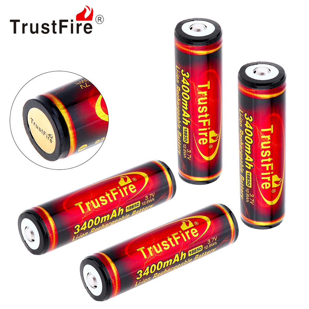 4pcs TrustFire 3.7V 18650 Li-ion Battery 3400mAh High Capacity Rechargeable Lithium Battery with Protected PCB for Flashlight 2pcs trustfire 18650 rechargeable battery 3 7v 2400mah li ion lithium battery with protected pcb portable battery storage box