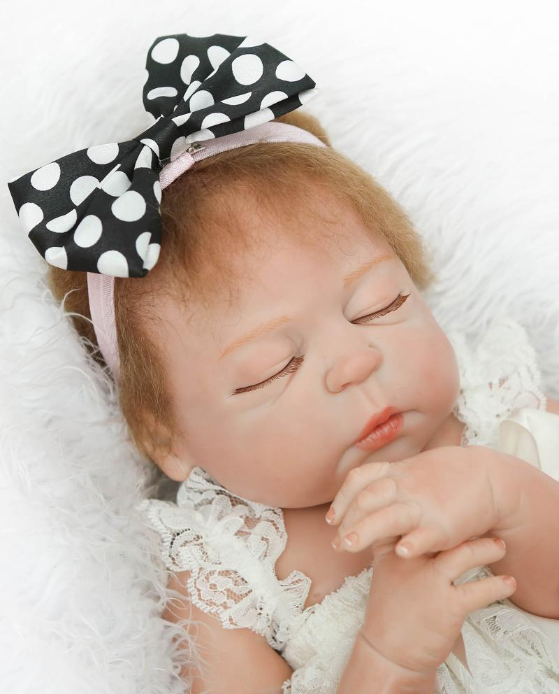 Full Silicone Body Reborn Baby Girl Doll Toys Lifelike 57cm Babies born Dolls Accessories clothes dress Birthday Gift Bathe Toy цена