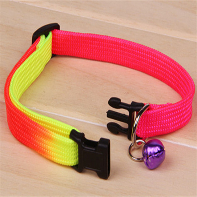 Fashion 1Pc Attention Random Color Rainbow Color Safety Adjustable Pet Dog Collars With Bell For Small Dog High Quality