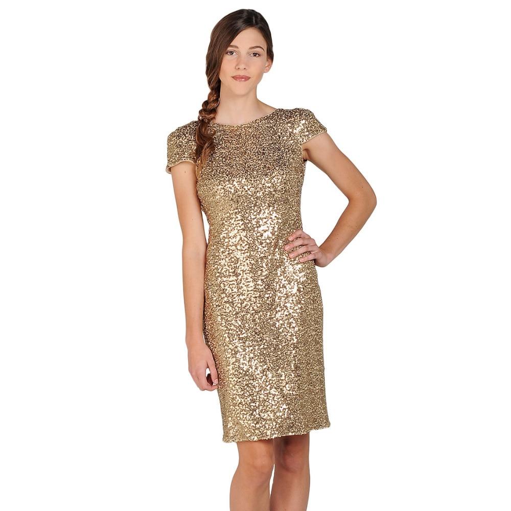 PW9151 Cowl Back Gold Sequin Short Prom Dresses 2017 Cheap Short ...