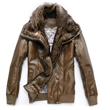 Men'S Slim Motorcycle Leather Jacket New Fashion Luxury Fur Collar Casual Winter Thick Warm Velvet Plus Size Leather Coat H2160