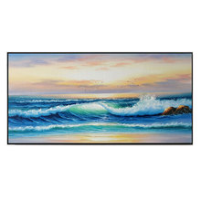 TOP Quality Hand Painted beach sunrise Oil Painting on Canvas Large blue Seascape wave picture wall painting