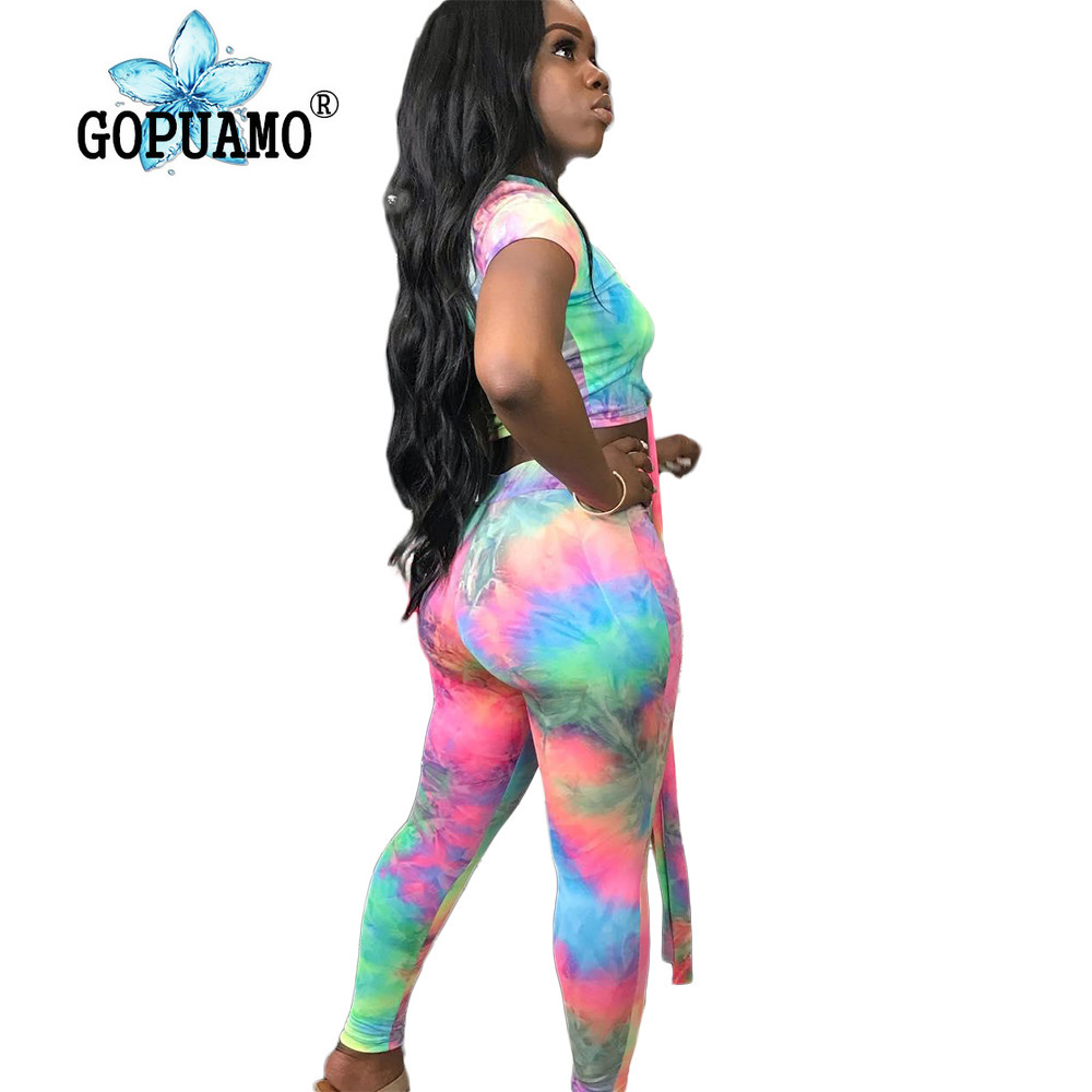 Rainbow Tie Dye Two Piece Tracksuit Sexy Plus Size Matching Set O Neck Sleeve Crop Top And Skinny Pants Summer Clothes For Women