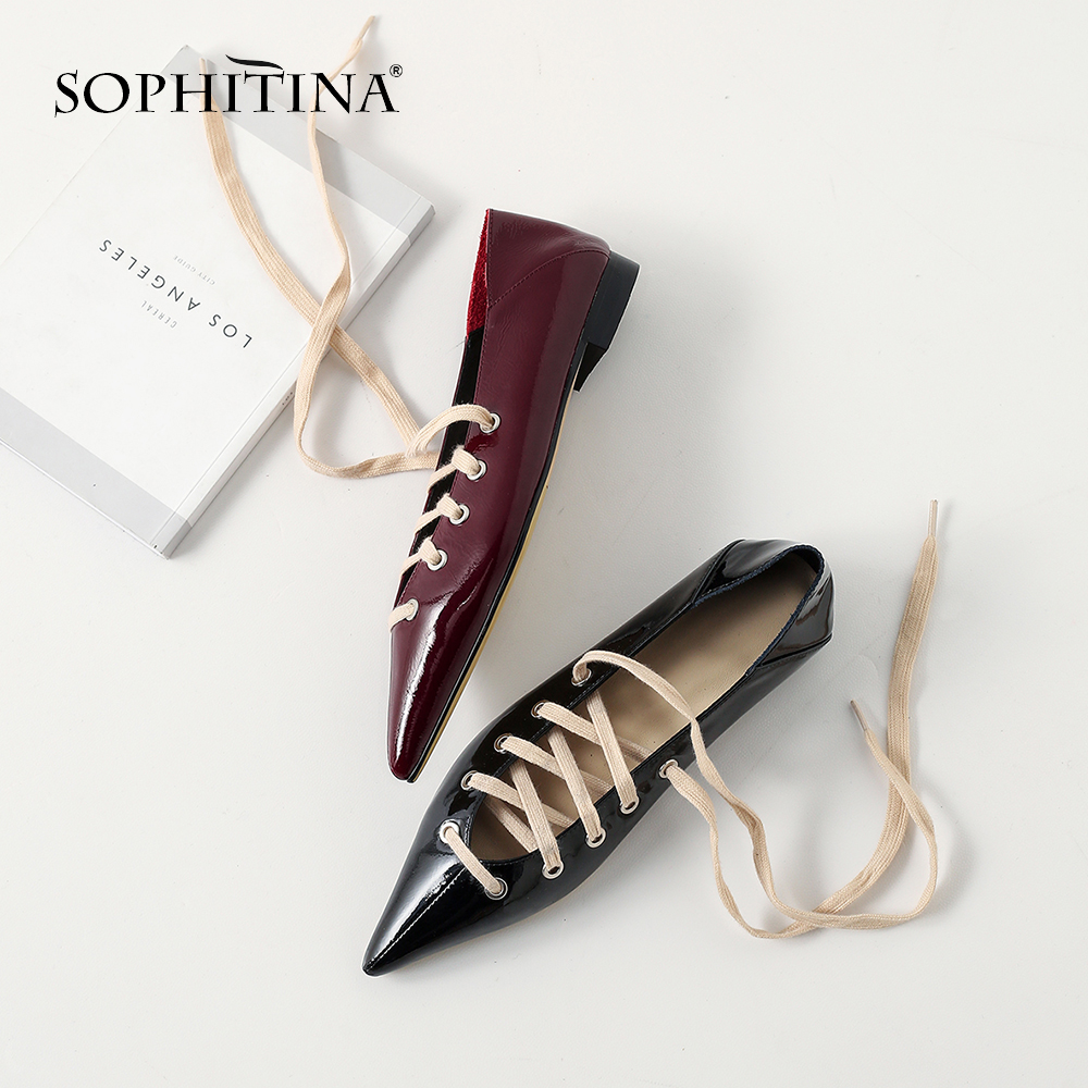 SOPHITINA 2019 Spring New High quality Patenet Leather Pointed Toe Girlish Shoes Solid Fashion Cross tied
