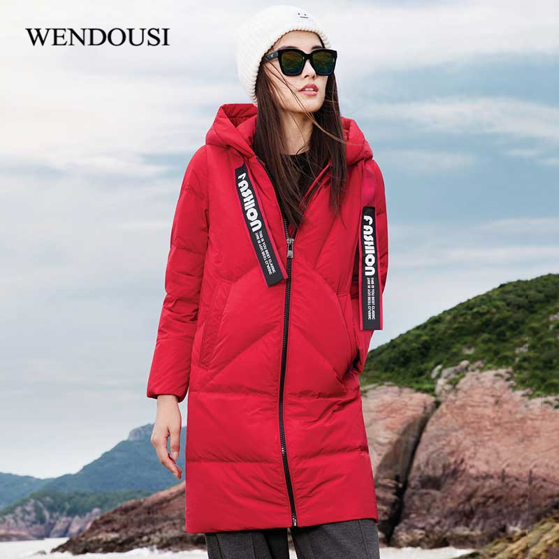 WENDOUSI Winter New Duck Down Coat Street Women Casual Solid Long Down Jacket Female Thick Warm Down Coat Women Parkas DY6688 new fashion winter solid long sleeve womens coat plus size pink short down warm jacket casual parkas for women 65238