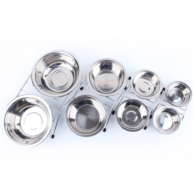 Stainless Steel Pet Dog Cat Puppy Travel Feeding Feeder Double/Dual Food Bowl Water Dish plate twins style with retail package