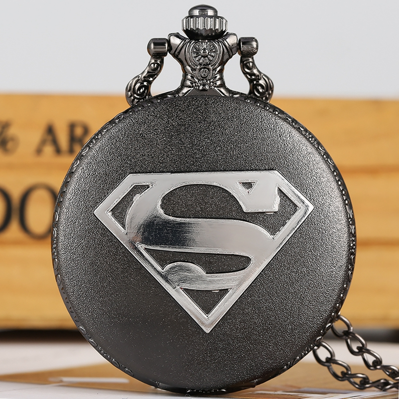 Retro Black Pokemon Classic Comic Superman Quartz Pocket Watch Necklace Pendant Chain Meaningful Best Gifts For Kids Men Women