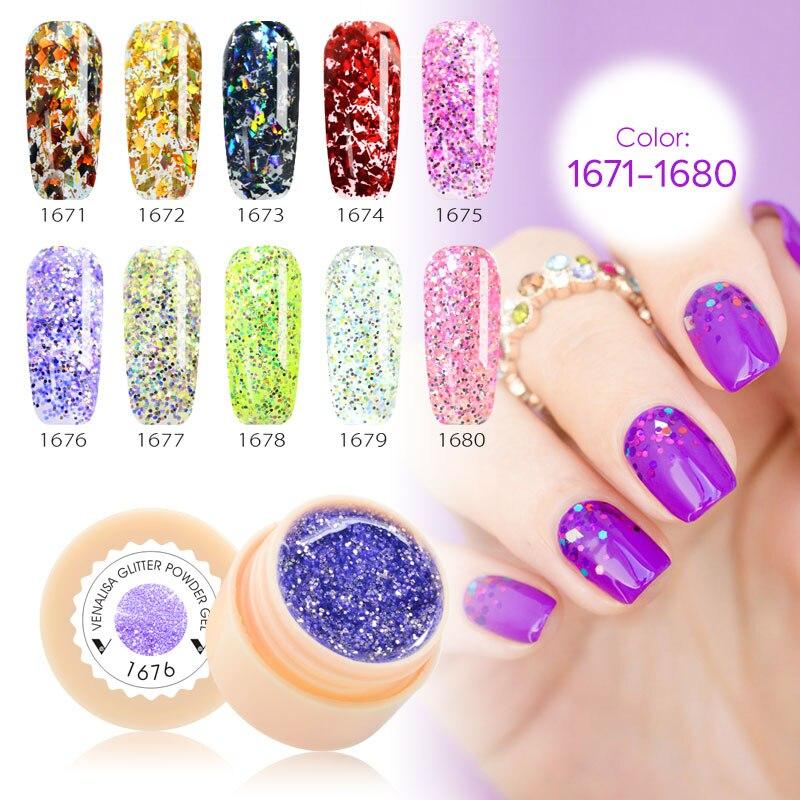 VENALISA 5g Shiny Pailletten Glitter UV Gel Lack Gel Lack tränken weg vom led uv Gel Nagellack 10 teile/los großhandel nagel gel versorgung