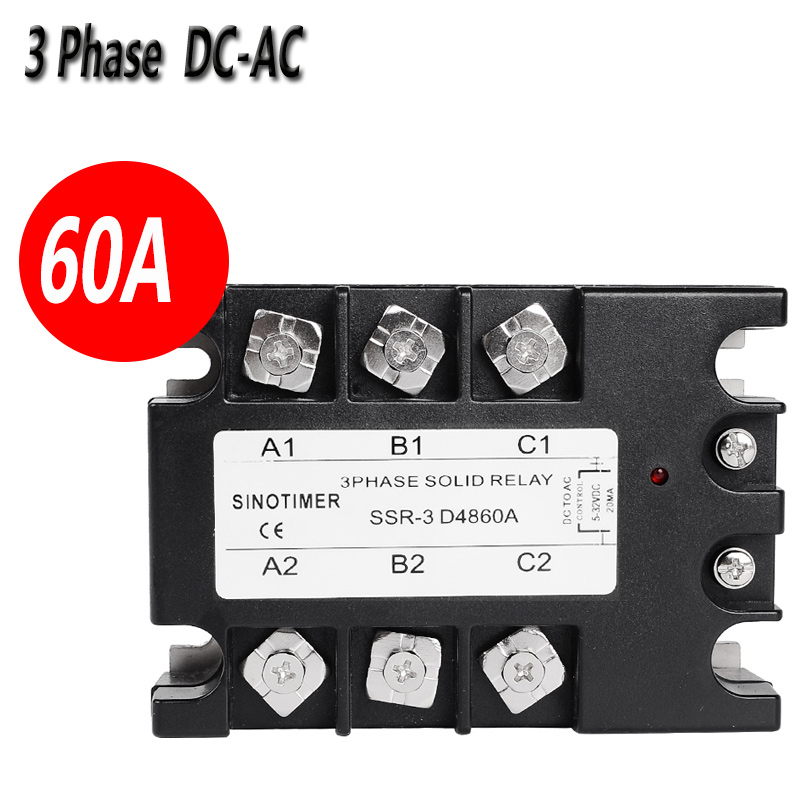 SINOTIMER D4860A 3 Phase Solid State Relay SSR 60A DC-AC 30-480V AC Output Module Switch Relay relais 3 phase solid state relay 60da ac output 3 32v dc to 30 480v ac 60a module switch relay relais dc ac d4860a