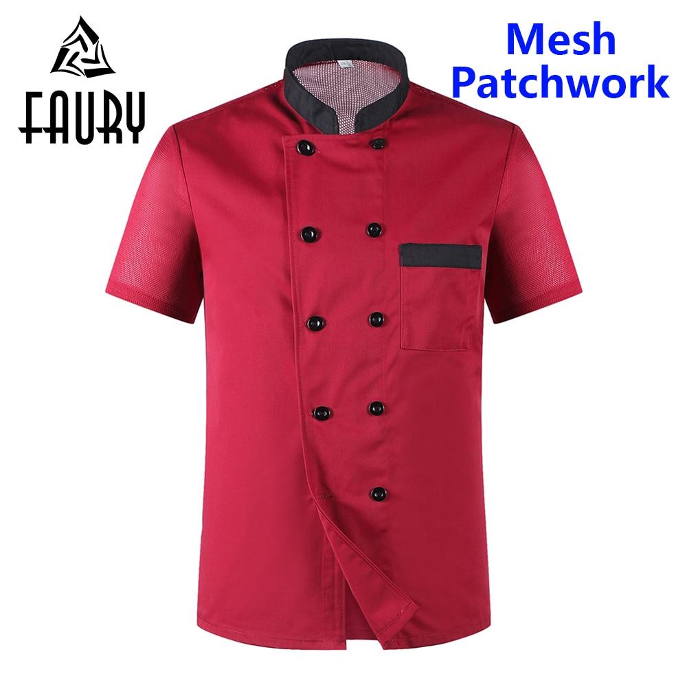 Men Short Sleeves Breathable Mesh Patchwork Chef Jacket Food Service Cuisine Cook Workwear Kitchen Restaurant Work Uniform Apron