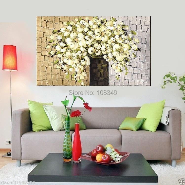 ▻Pintado a mano estirada enmarcado arte de la pared Flor de Oro el ...