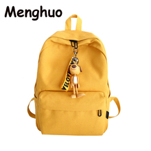 Menghuo Women Backpack for School Teenagers Girl Vintage Bag Cute Pendant Ladies Canvas Female Book bag Mochila