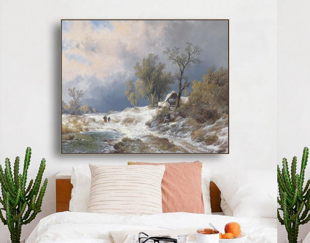 Rural Winter Famous Oill Painrtigs Wall Art Poster Print Canvas Painting Calligraphy Decor Picture for Living Room Home Decor in Painting Calligraphy from Home Garden