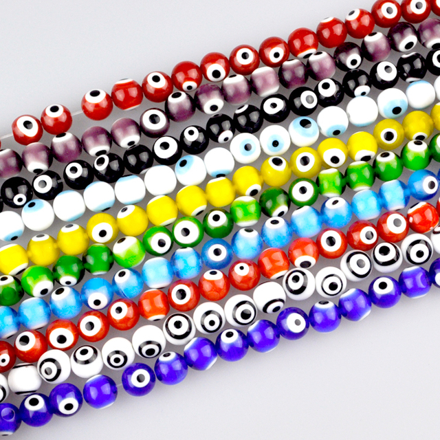 Multicolor Turkish Evil Eye Beads Lampwork Glass Beads 10mm Wholesale Small  Hole Spacer Beads Fit Jewelry DIY Flat Round 190Pcs-in Beads from Jewelry  ... 6183dfbe096a