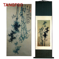 Tangfoo Wall Art Traditional Chinese Silk Scroll Painting Classical Ink Painting Silk Canvas Bamboo Traditional Bamboo Paintings