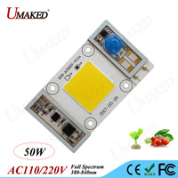 High power led chip 50W Bulb lamp Grow light light bead Smart IC Drive Direct AC110/220V 380 840nm for hydroponics indoor plant