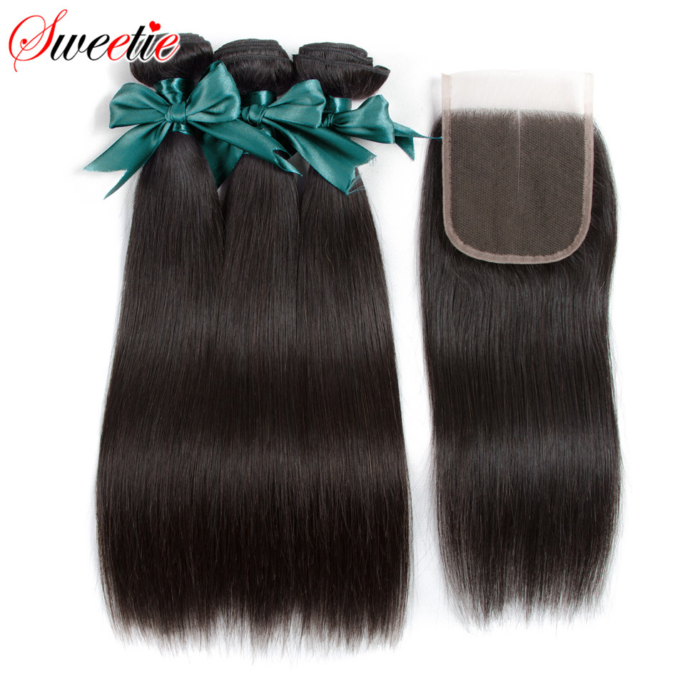 Sweetie Hair Peruvian Straight Hair Bundles With Closure Middle Part Non Remy 100 Human Hair 3