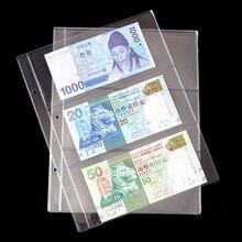 20pcs/lot 3 row 255mm*200mm Banknotes album page high quality transparent album for paper money photo album