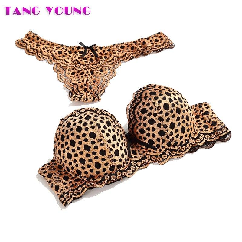 2019 New Women Sexy Leopard   Bra     Set   Temptation Lace Push Up Women   Bra   Thong   Set   Intimate Sexy Underwear Femme Panty   Set