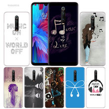 Music On World Off Case for Xiaomi Redmi Note 7 7S K20 Y3 GO S2 6 6A 7A 5 Pro MI Play A1 A2 8 Lite Poco F1 Silicone Phone Bags(China)